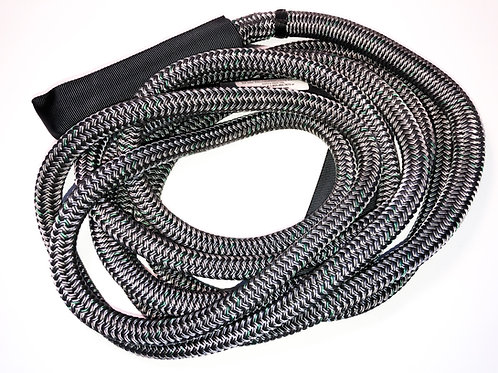 "1"" x 30FT Kinetic Recovery Rope, BLK Coated w/ 8"" Eyes & BLK Protective Sleeve"
