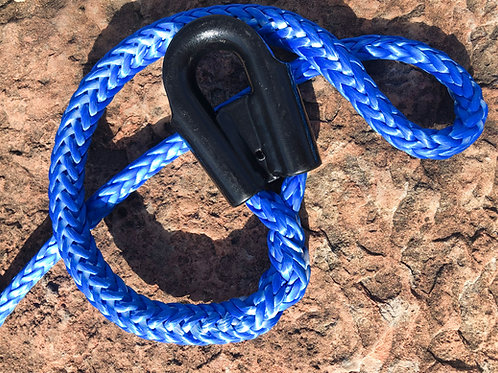 "3/8"" Blue Pure Dyneema SK78 Winch Line w/ Protective Sleeve & Gusset Thimble"