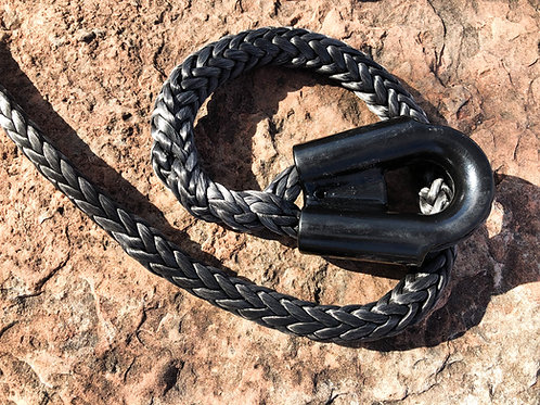 "7/16"" Black Pure Dyneema SK75 Winch Line w/ Protective Sleeve & Gusset Thimble"