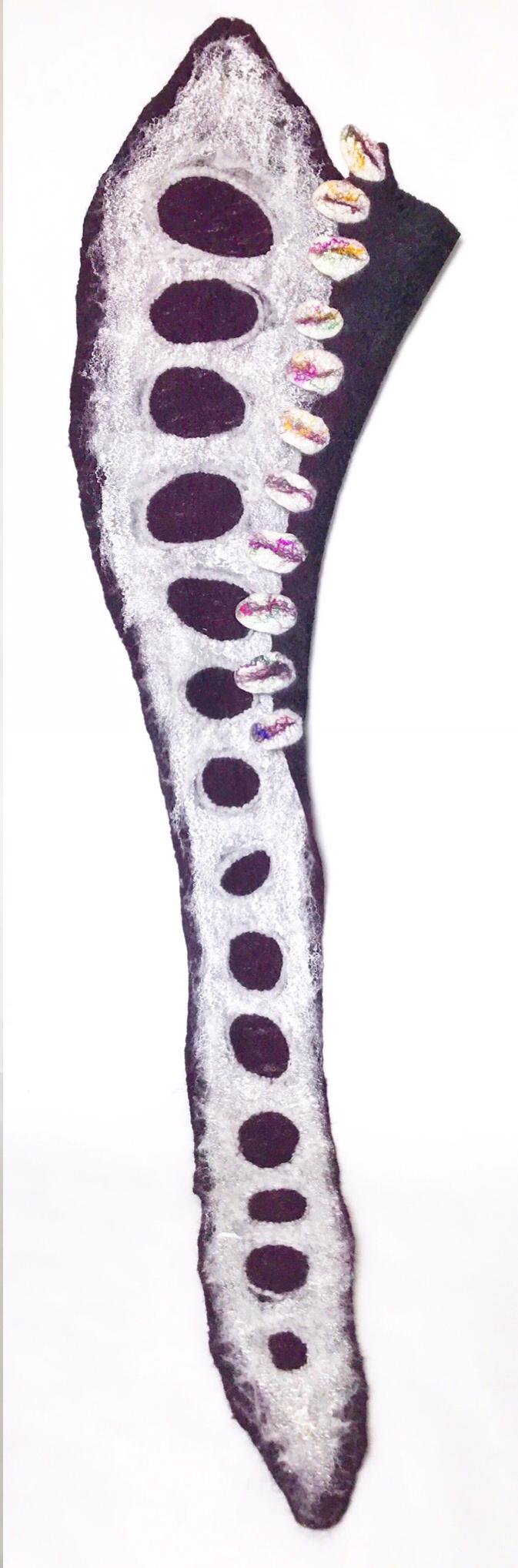 Art Scarf White Purple