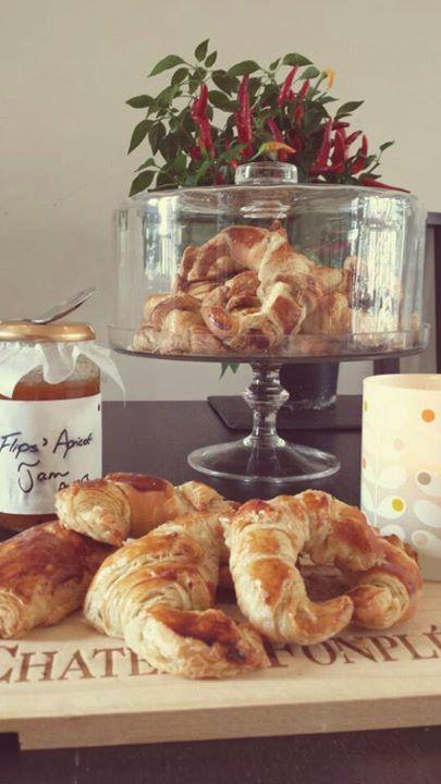 Breakfast chez moi - croissants and apricot jam