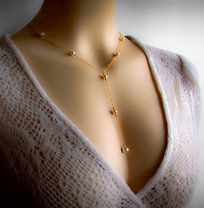 14K Gold Filled  Y Lariat Necklace  Swarovski Faux Pearls
