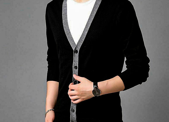 Cardigan Sweater Black Knitted Wool Casual