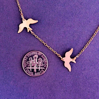 Rose Gold Fill Two CHASING Doves 14K
