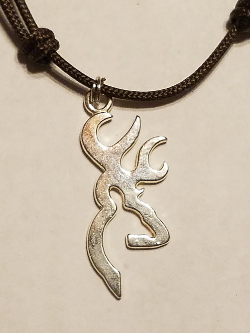 Silver Browning Deer Head Logo Necklace