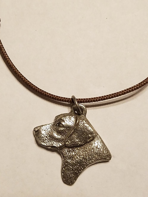 Labrador Retriever Dog Head Pewter Pendant Charm Necklace -Yellow Chocolate Lab