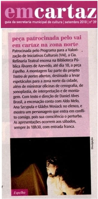 Clipping do grupo Refinaria Teatral