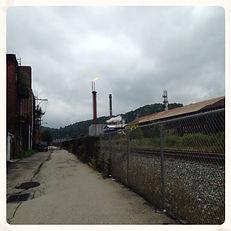Smokestacks of rust-belt town