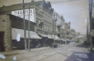 Downtown street of small rust-belt town