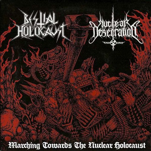 BESTIAL HOLOCAUST/NUCLEAR DESECRATOR SPLIT - MARBLED RED/BLACK EP