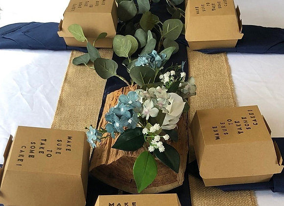 Rustic Log Centrepiece with florals