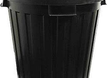 Black rubbish bin with liner