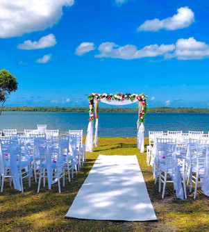 Double bamboo arbour ceremony set-up