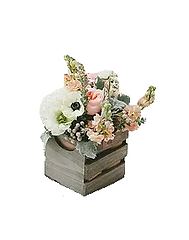 wooden basket centrepiece with florals