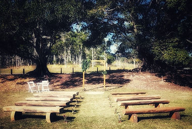 Rustic wedding ceremony with wooden arbour and log benches