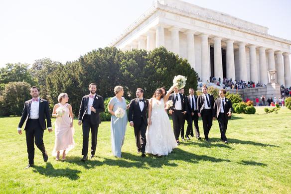 Lincoln memorial bridal party portrait