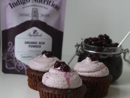 Gluten Free Chocolate and Blueberry Acai Cupcakes - Indigo Herbs..