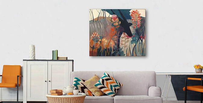 Ochre and Teal Living room with Sunset E