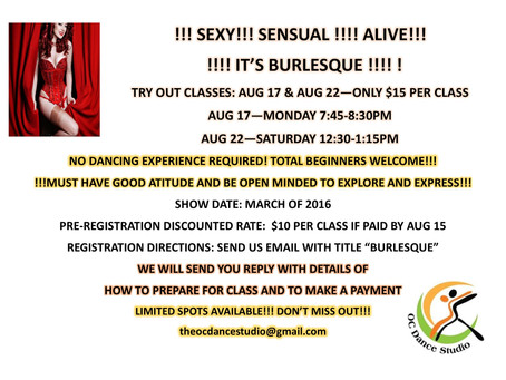 BURLESQUE classes in Orange County -