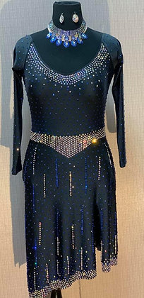 Ballroom Latin Dress Black with Blue & Crystal Stones