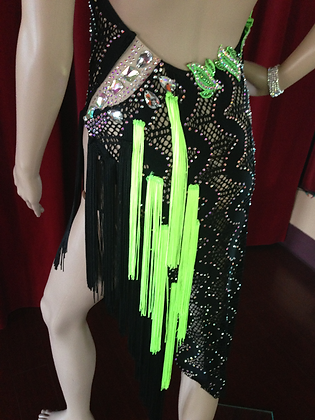Black and Green Latin Ballroom Dress