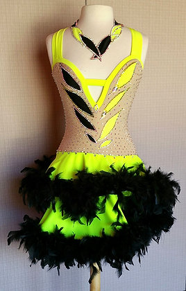 Yellow and Black feathers Latin Dress