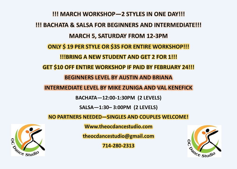 Salsa and Bachata classes studio in orange county