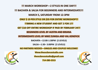 SALSA AND BACHATA CLASSES (WORKSHOP) SATURDAY IN ORANGE COUNTY AT OC DANCE STUDIO!