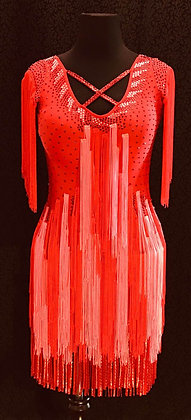 Red & Coral Latin Dress with Fringes and Bracelets