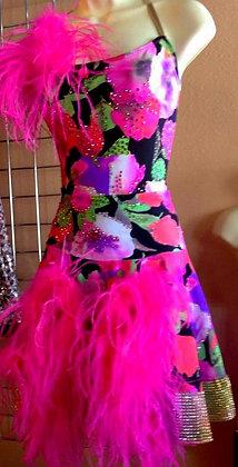BALLROOM DRESS PINK FLORAL LATIN STYLE