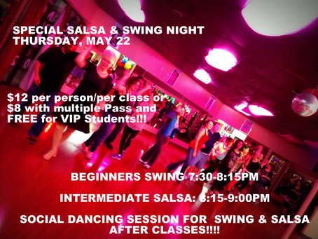 SPECIAL SWING AND SALSA CLASSES MAY 22ND IN ORANGE COUNTY AT OC DANCE STUDIO