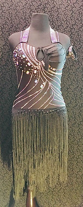 Black Latin Dress with Fringes and bracelets