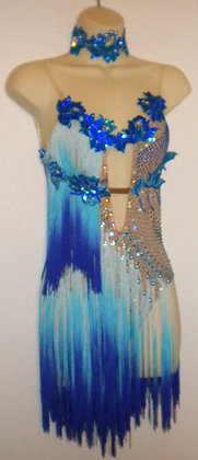 Ballroom Salsa Dress with Blue Fringes
