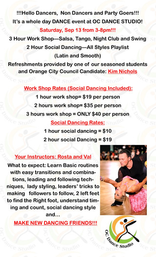 SALSA, NIGHT CLUB 2 STEP, TANGO AND SWING WORKSHOP IN ORANGE COUNTY FOR ALL LEVELS!
