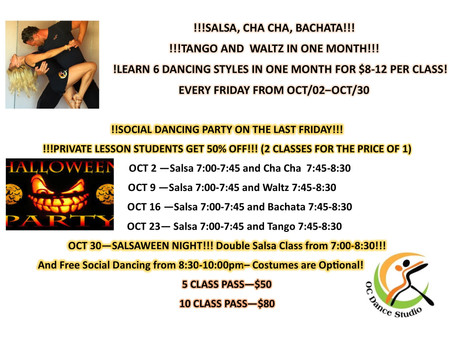DANCING IN ORANGE COUNTY ON FRIDAY NIGHTS! SALSA AND SOCIAL DANCING SINGLES AND COUPLES!