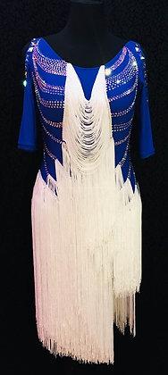 Royal Blue Latin Dress with White Fringes