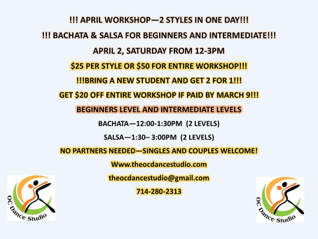 Salsa and Bachata Workshop for Beginners and Intermediate in Orange County Saturday