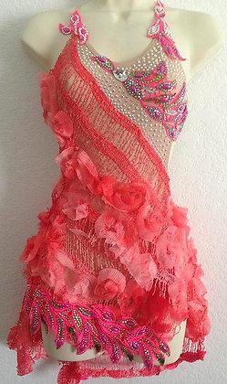 PINK FLOWER LATIN BALLROOM DRESS