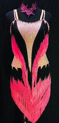Coral Fringes Latin Dress