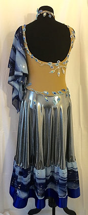 Silver and Blue Ballroom Dress