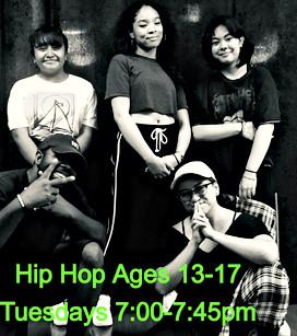 Teens Hip Hop Class on Tuesdays 7-7:45