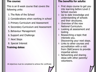 FREE 8 WEEK COURSE. Do you want to volunteer or work in schools but not ready for a level 2 qualific