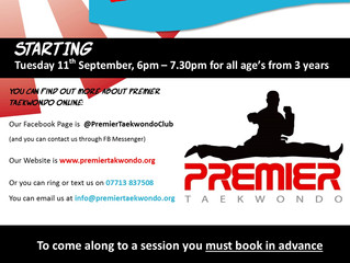 TAEKWONDO CLASSES STARTING @ NORTHFIELD HALL. (September) Try it out...