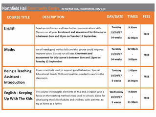 FREE Courses / Training @ Northfield Hall, Huddersfield, HD2 1GS
