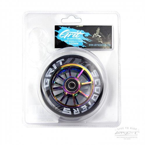 Grit 100mm 8 Spoke ACW Wheels - Twin Pack - Black / Neochrome