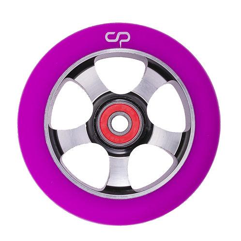 Crisp 5 Spoke Wheel - 100mm / Purple on Black