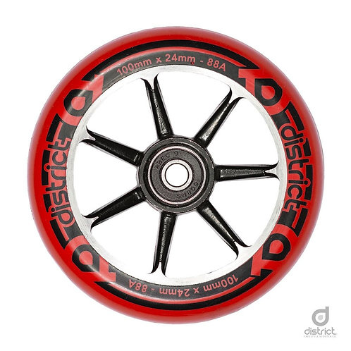 District Scooters 100mm Cast Alloy Core Twin Pack Wheels / Black / Red