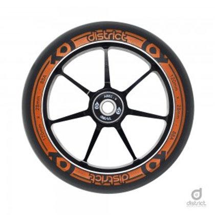 District Scooters 110mmx28mm Dual Width Core W110 Wheel - Black / Orange