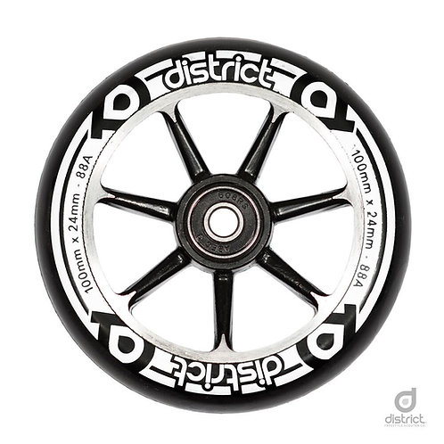 District Scooters 100mm Cast Alloy Core Twin Pack Wheels / Black / Black