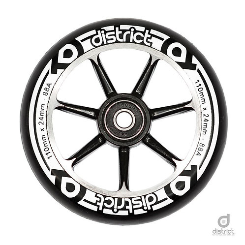 District Scooters 110mm Cast Alloy Core Twin Pack Wheels - Black / Black